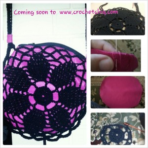 lining clutch 300x300 How To Line A Crocheted Bag
