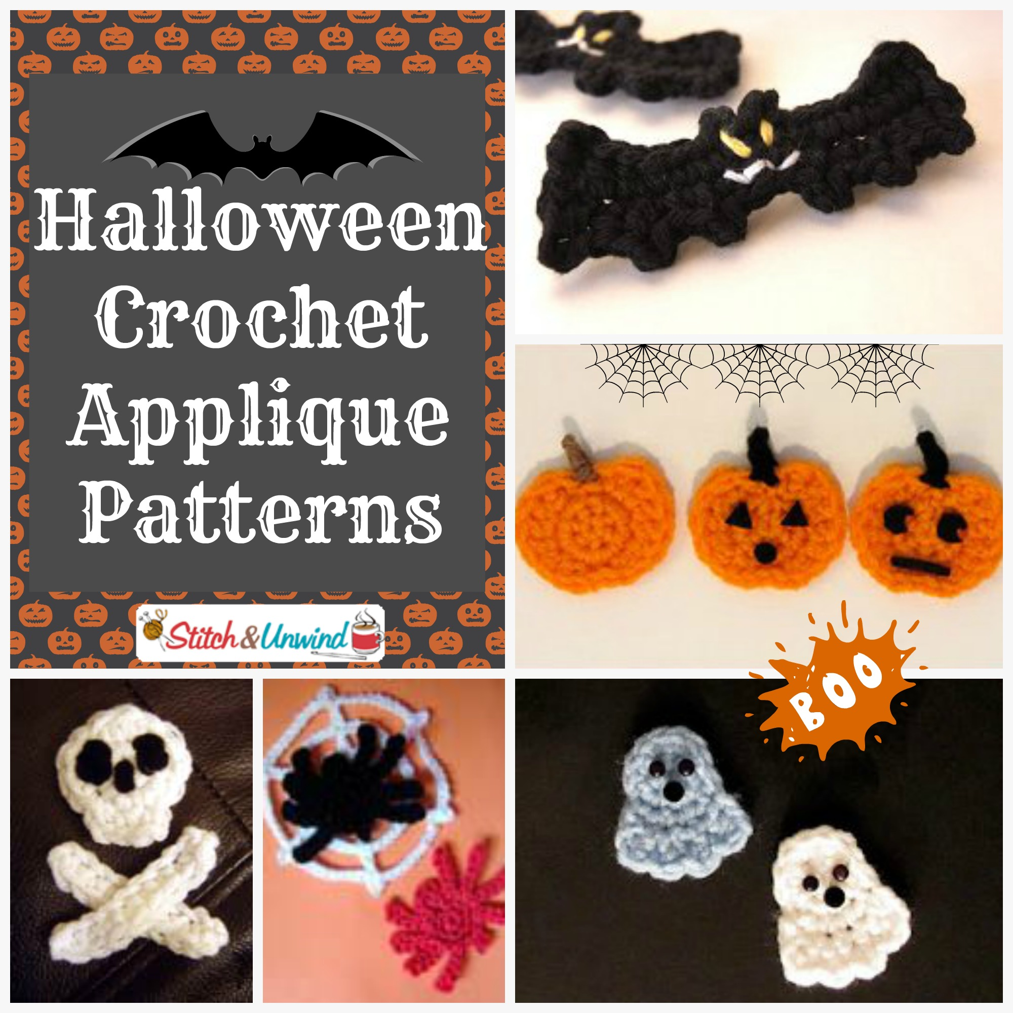 Free Easy Halloween Crochet Patterns : Add Flair To Your Afghans: Free Crochet Applique Patterns