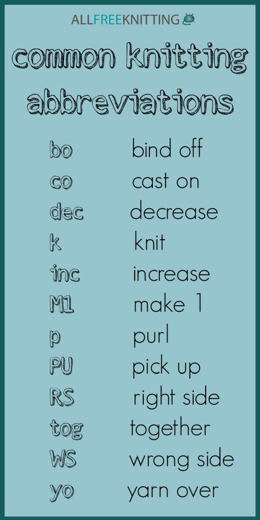 Knitting Abbreviations : Common Knitting Abbreviations