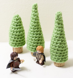 Crochet Evergreen Cork Ornaments