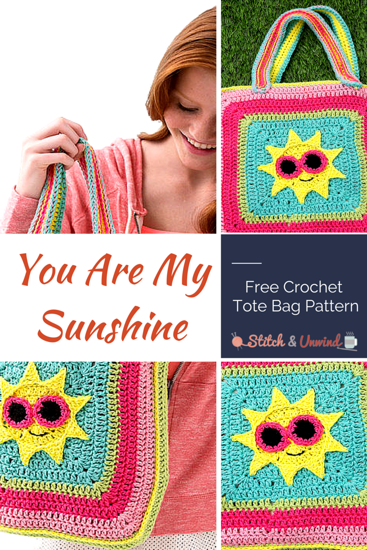 Free Crochet Pattern For You Are My Sunshine Blanket : You Are My Sunshine Crochet Tote Bag