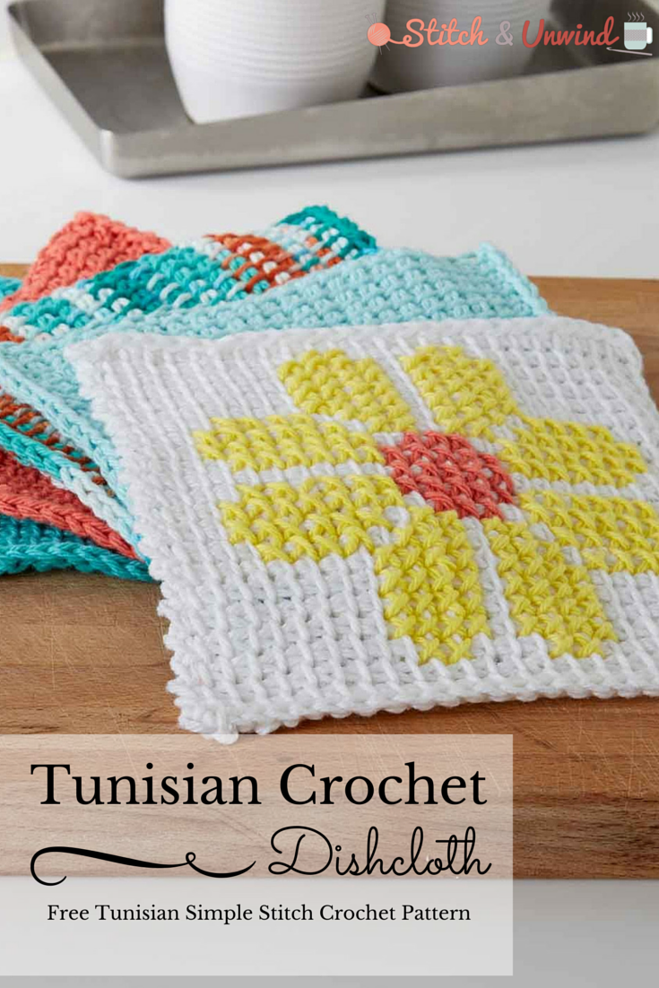 Simple Dishcloth Crochet Pattern Free : Free Tunisian Crochet Pattern: Simple Summer Dishcloth ...