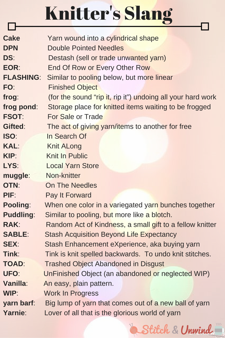 Knitting Yrn Meaning : Knitter s slang knitting terms you need to know stitch