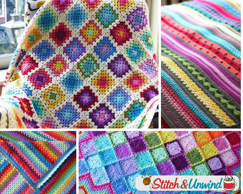 24 Rainbow Crochet Blanket Patterns - Stitch and Unwind