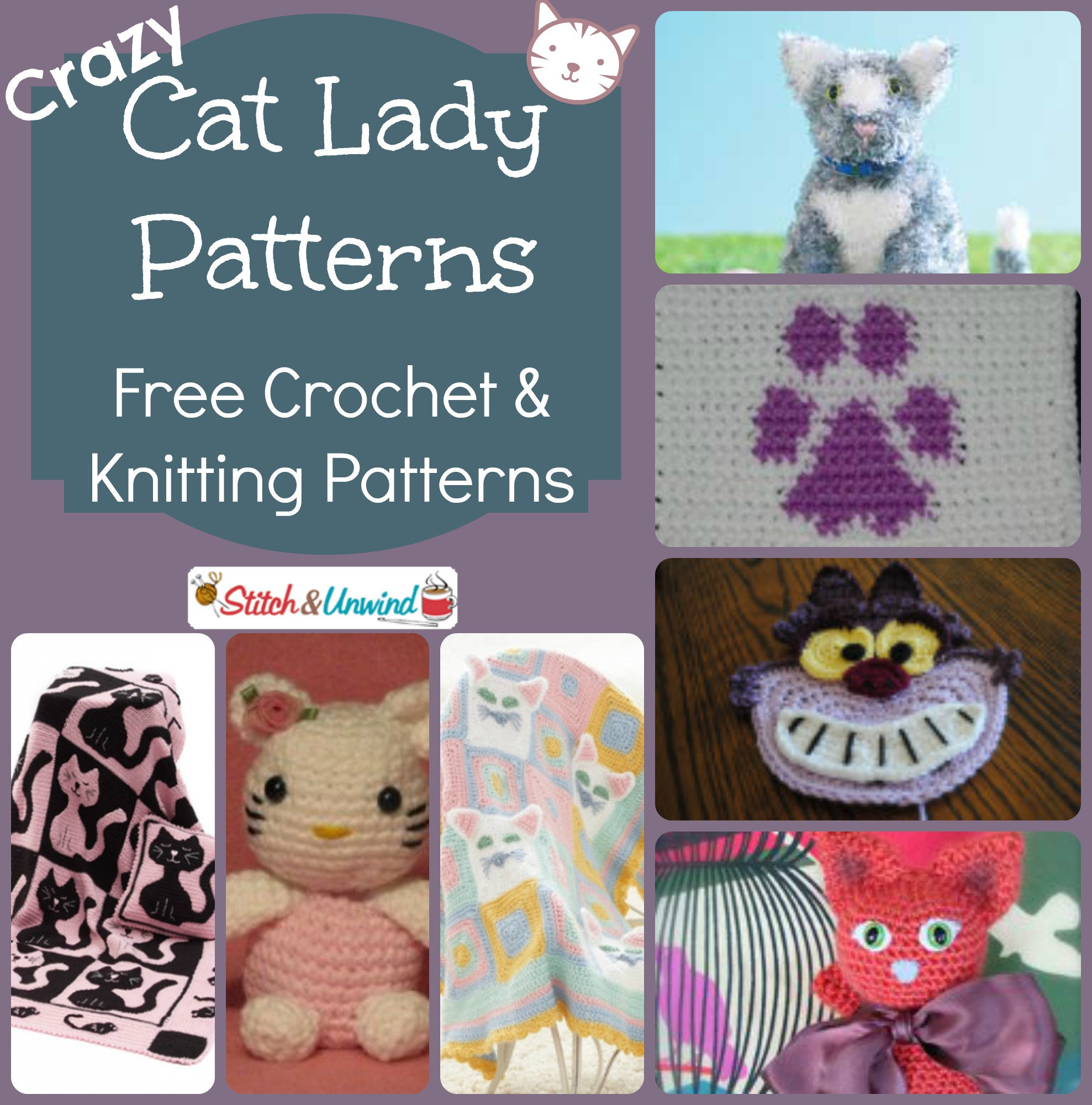 Free Knitting And Crochet Patterns Online : Crazy Cat Lady Patterns: Free Crochet & Knitting Patterns - Stitch and Un...