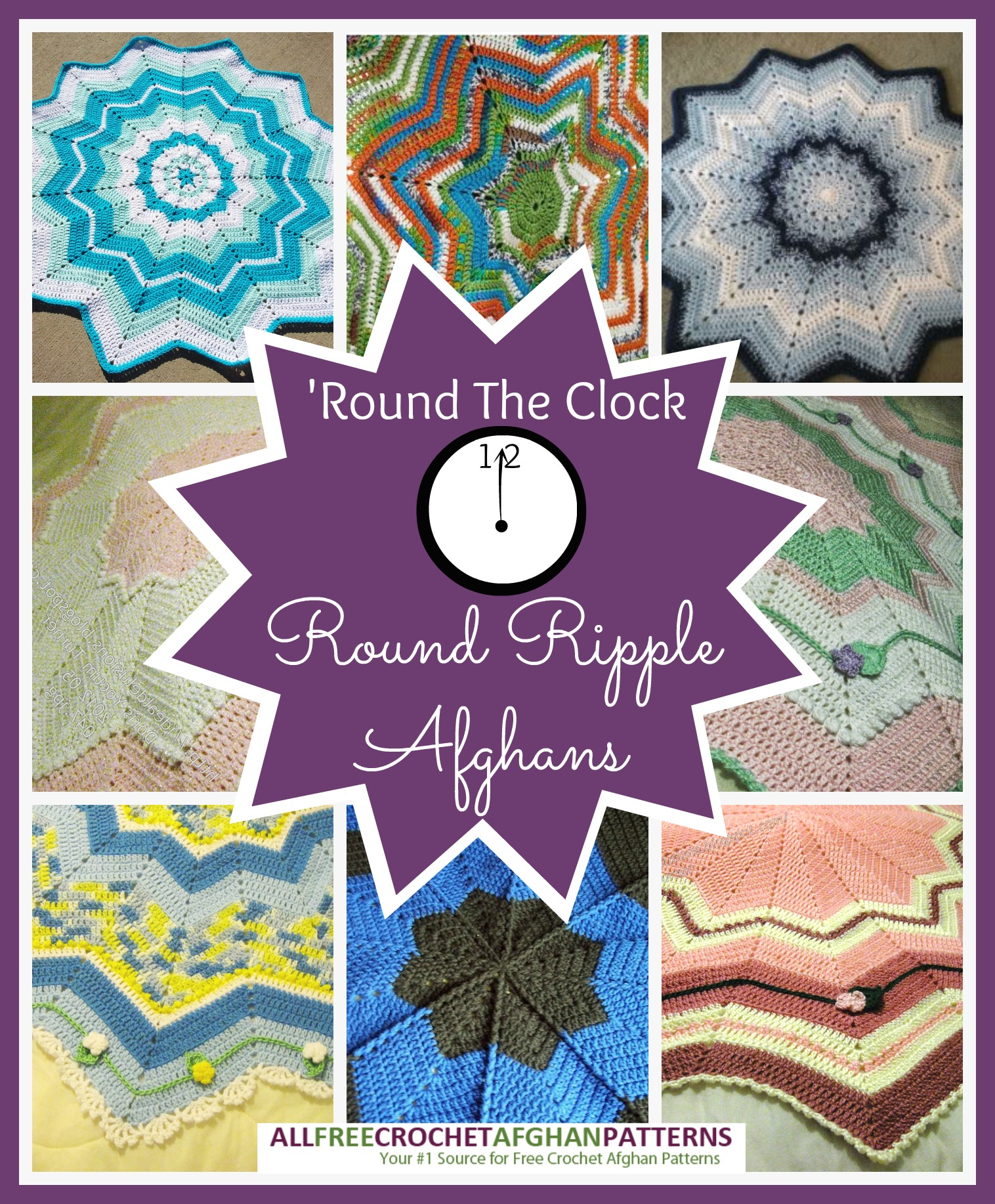 Round The Clock 12 Round Ripple Afghans Stitch And Unwind