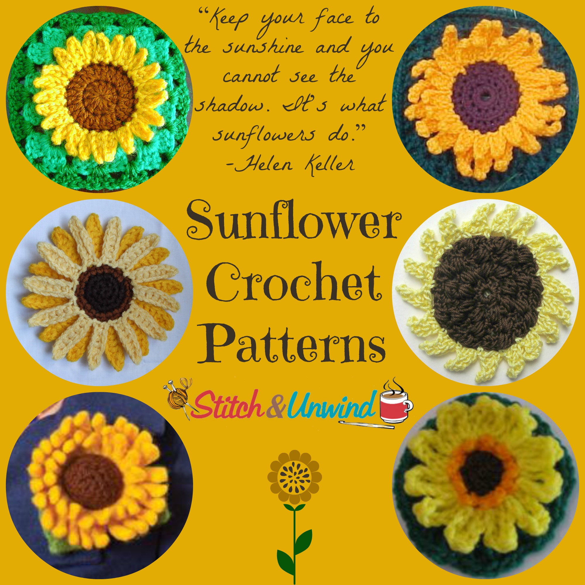 Plan Ahead For Sunshine 13 Sunflower Crochet Patterns Stitch And Unwind