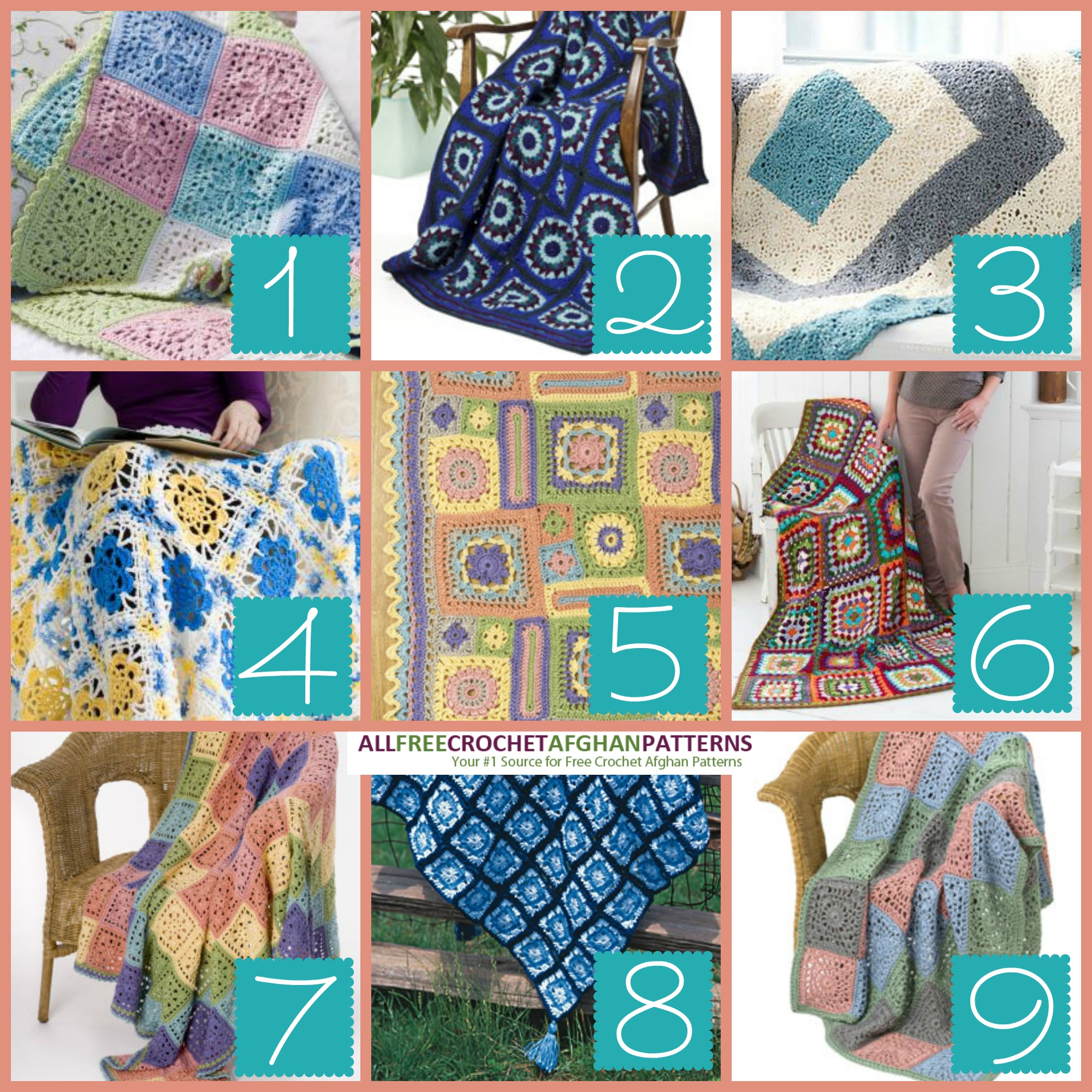 picture regarding Free Printable Crochet Granny Square Patterns known as 9 Printable Granny Sq. Afghans - Sch and Relax