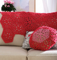 Cranberry Mosaic Web Throw and Pillow