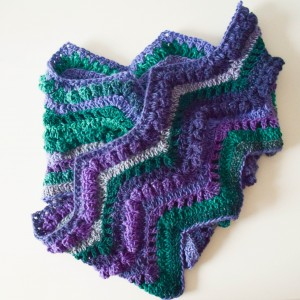 I used Cascade Yarns Casablanca in Peacock for this free crochet pattern, the Rippling Peacock Scarf.
