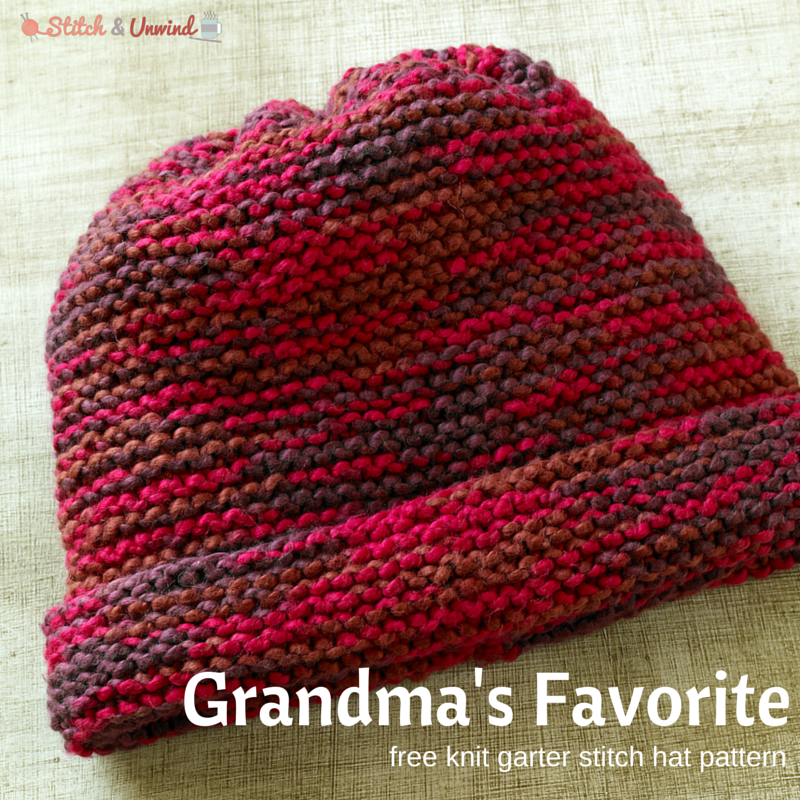 Knitting Patterns For Hats Using Circular Needles : Grandmas Favorite Knit Garter Stitch Hat Pattern - Stitch and Unwind