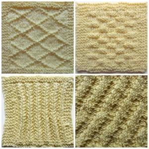 Knitting Sampler Pillow free knitting pattern by Marie Segares collage
