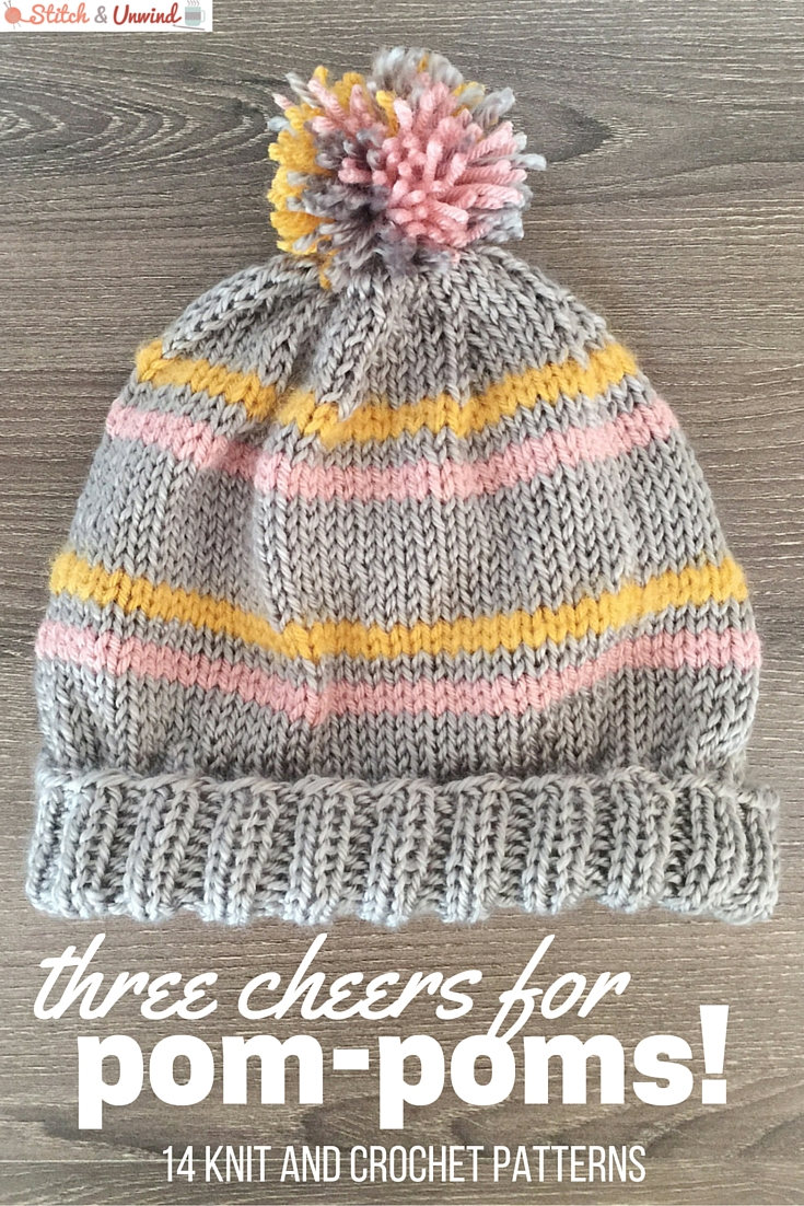 knit and crochet pom-pom hat patterns