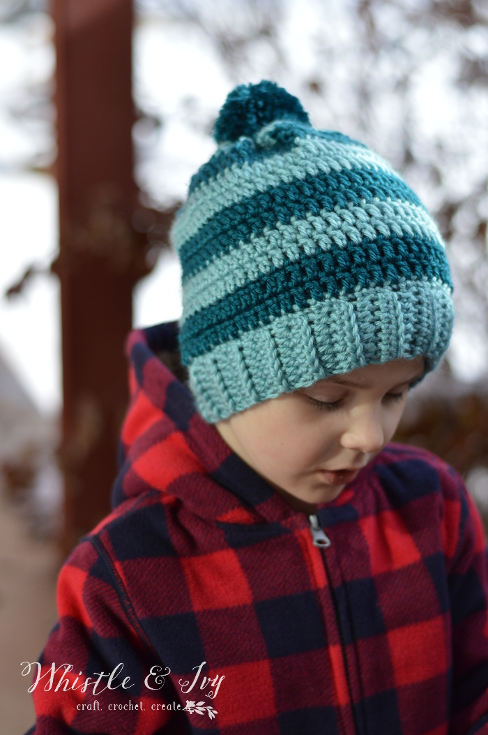 Schoolyard Pom-pom Hat Crochet Pattern - Stitch and Unwind