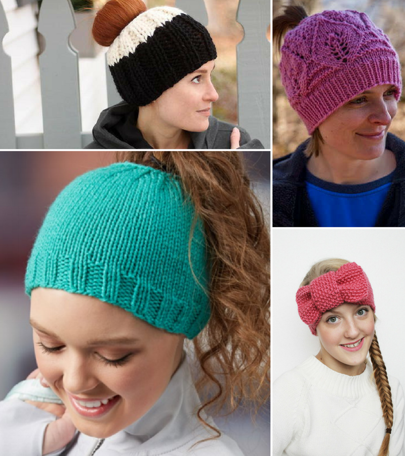 Accidental Genius + 13 Ponytail Free Knit Hat Patterns - Stitch and ... 02f4046c4b6