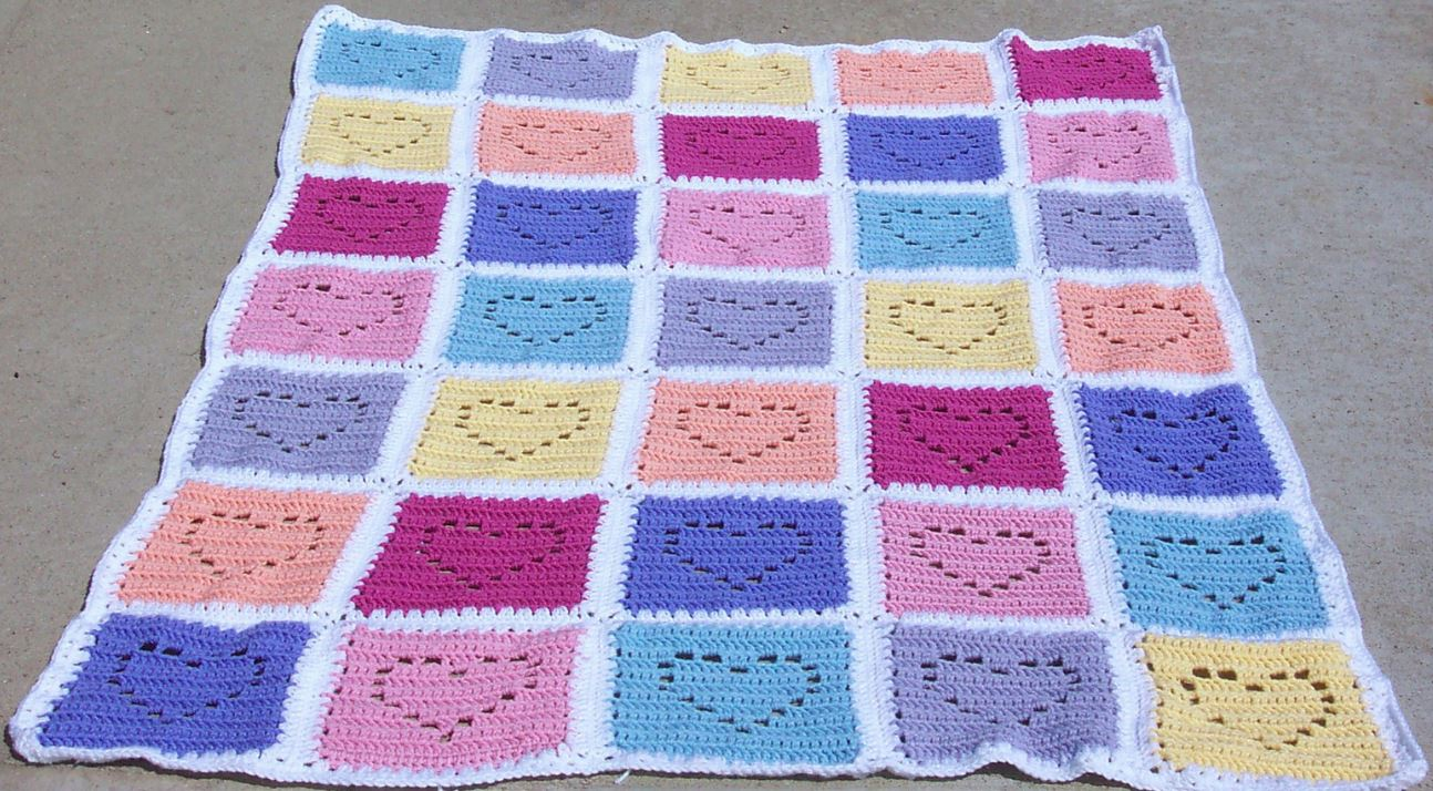 Conversation Hearts Afghan