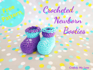 Image shows crocheted newborn booties that are very cute and easy to make.