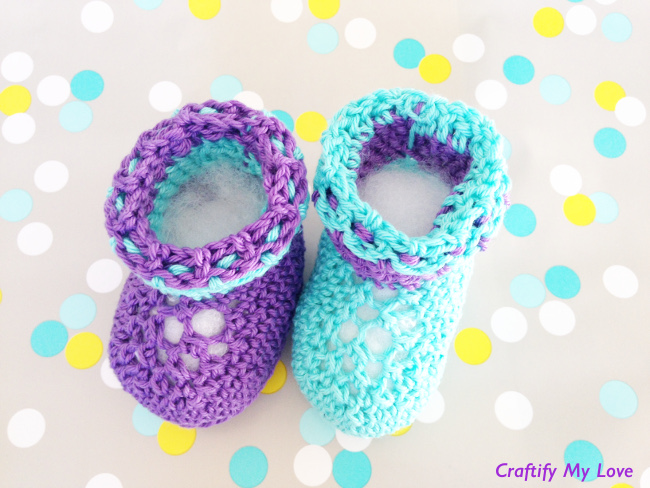 Crocheted Newborn Booties Free Pattern Stitch And Unwind