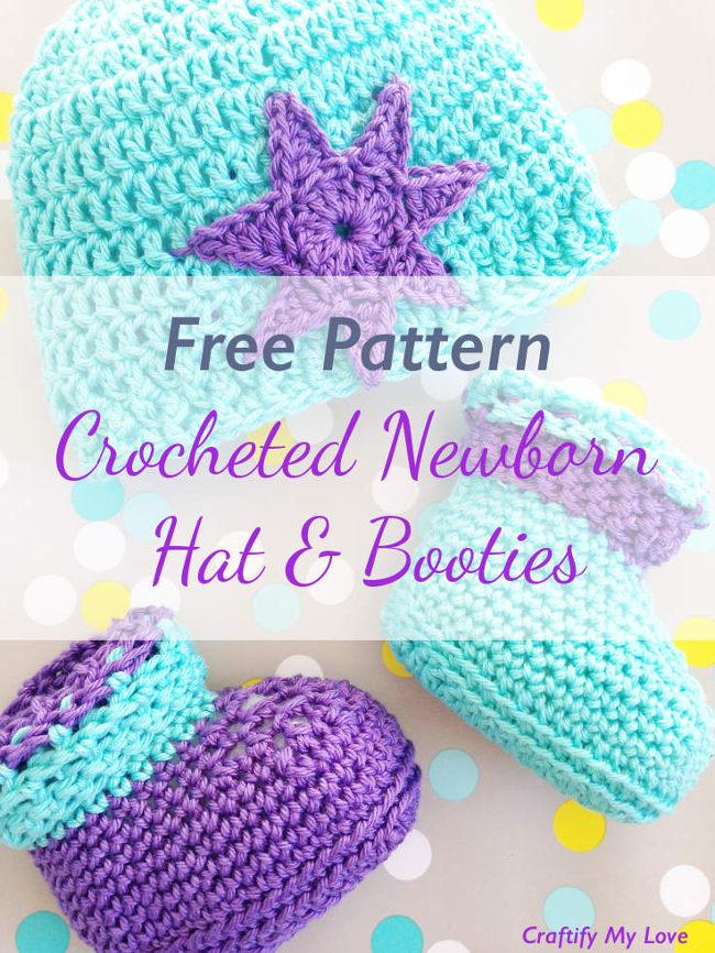 Crocheted Newborn Booties Free Pattern Stitch And Unwind