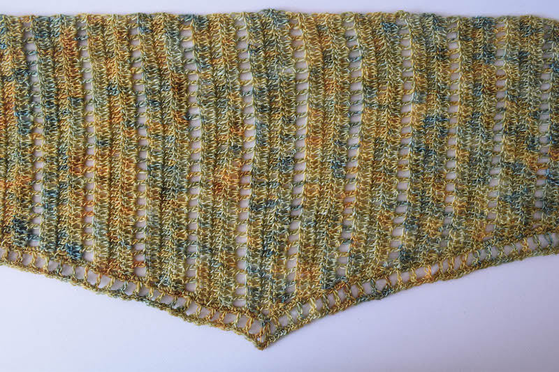 Simple Lace Isosceles Shawl, free crochet pattern by Underground Crafter for Stitch and Unwind